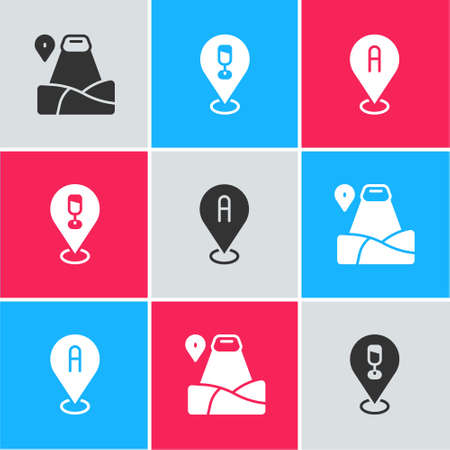 Set Location with mountain, Alcohol or beer bar location and icon. Vector