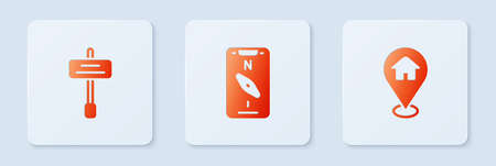 Set Compass on mobile, Road traffic sign and Location with house. White square button. Vector