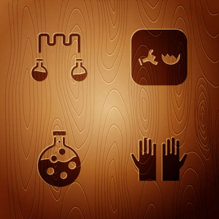 Set Medical rubber gloves, Test tube and flask, and Broken on wooden background. Vector 일러스트