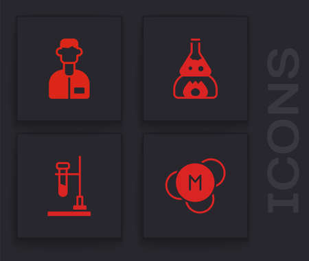 Set Molecule, Laboratory assistant, Test tube flask on fire and icon. Vector 일러스트