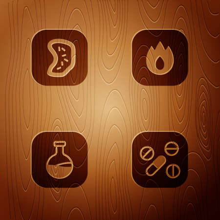 Set Medicine pill or tablet, Bacteria, Test tube and flask and Fire flame on wooden background. Vector