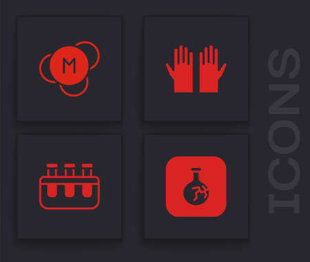 Set Cracked flask, Molecule, Medical rubber gloves and Test tube and icon. Vector