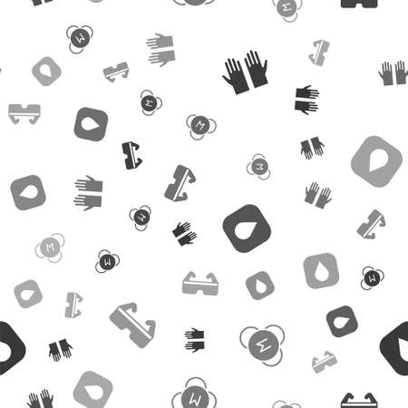 Set Medical rubber gloves, Molecule, Water drop and Safety goggle glasses on seamless pattern. Vector