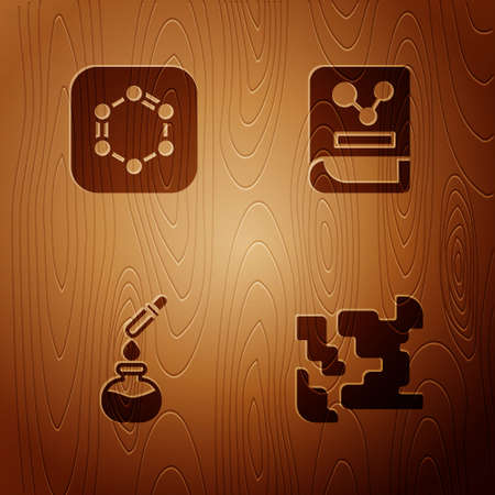 Set Gaseous, Formula of benzene rings, Test tube and flask and Chemistry book on wooden background. Vector 일러스트