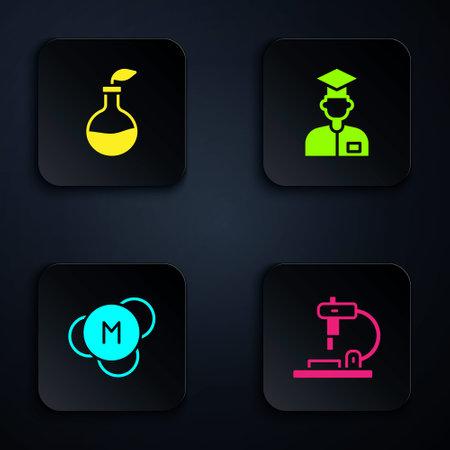 Set Microscope, Plant breeding, Molecule and Laboratory assistant. Black square button. Vector