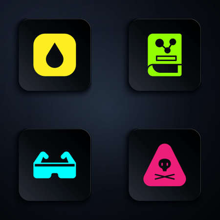 Set Triangle warning toxic, Water drop, Safety goggle glasses and Chemistry book. Black square button. Vector