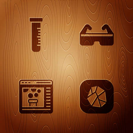 Set Salt stone, Test tube and flask, Chemical online and Safety goggle glasses on wooden background. Vector 일러스트