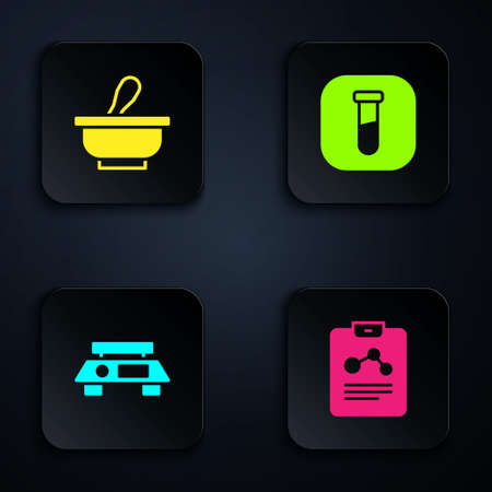 Set Chemistry report, Mortar and pestle, Electronic scales and Test tube flask. Black square button. Vector 일러스트