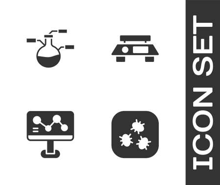 Set Bacteria, Test tube and flask, Chemical formula and Electronic scales icon. Vector 일러스트
