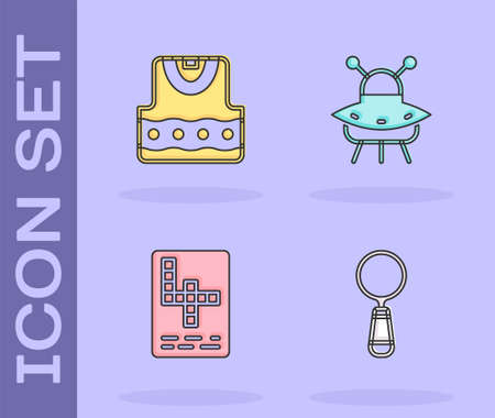Set Magnifying glass, Waistcoat, Crossword and UFO flying spaceship icon. Vector