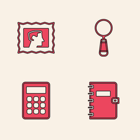 Set Spiral notebook, Postal stamp, Magnifying glass and Calculator icon. Vector