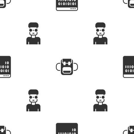 Set Binary code, School backpack and Nerd geek on seamless pattern. Vector 일러스트