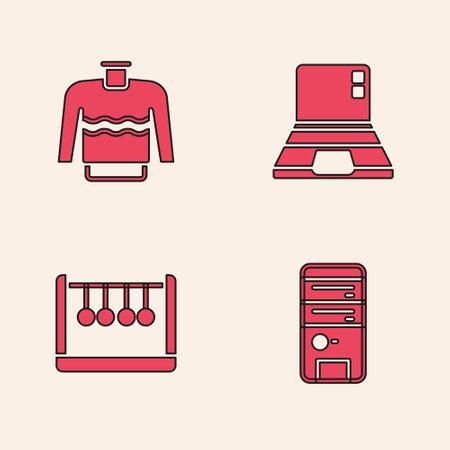 Set Computer, Sweater, Laptop and Pendulum icon. Vector