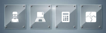 Set Piece of puzzle, Calculator, Laptop and Nerd geek. Square glass panels. Vector