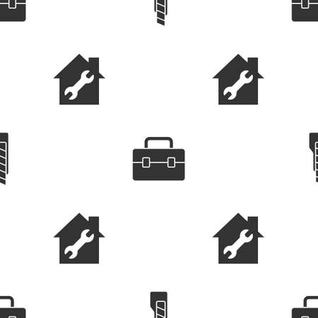Set Stationery knife, Toolbox and House repair on seamless pattern. Vector
