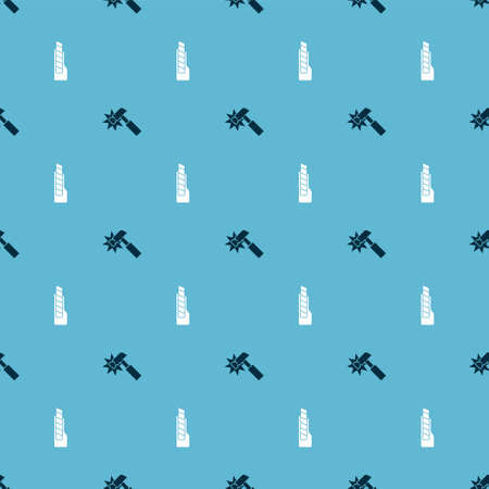 Set Hammer and Stationery knife on seamless pattern. Vector