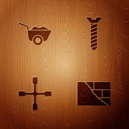 Set Bricks, Wheelbarrow, wrench and Metallic screw on wooden background. Vector 일러스트
