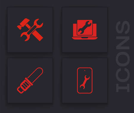 Set Mobile service, Hammer and wrench, Laptop and Chainsaw icon. Vector
