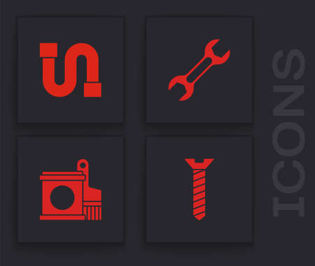 Set Metallic screw, Industry pipe, Wrench spanner and Paint bucket and brush icon. Vector
