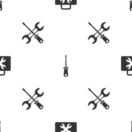 Set Toolbox, Screwdriver and and wrench on seamless pattern. Vector