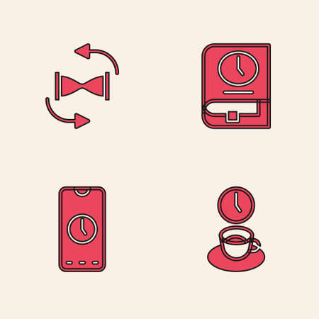 Set Coffee time, Old hourglass with sand, Time for book and Alarm clock app mobile icon. Vector