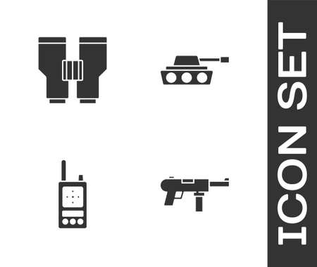 Set Submachine gun M3, Binoculars, Walkie talkie and Military tank icon. Vector