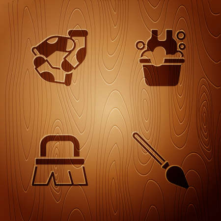 Set Handle broom, Socks, Brush for cleaning and Basin with soap suds on wooden background. Vector