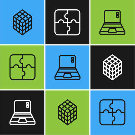 Set line Rubik cube, Laptop and Piece of puzzle icon. Vector Vector Illustration