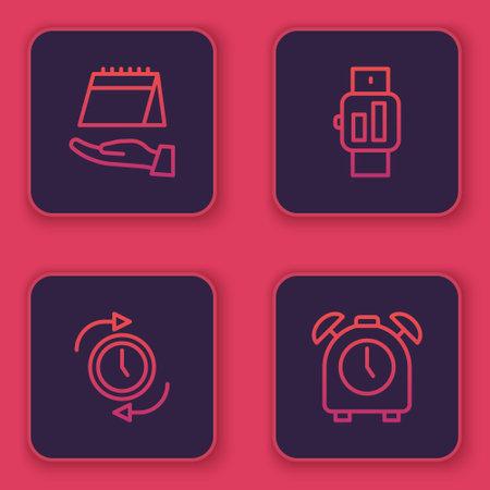 Set line Calendar, Clock with arrow, Smartwatch and Alarm clock. Blue square button. Vector Çizim