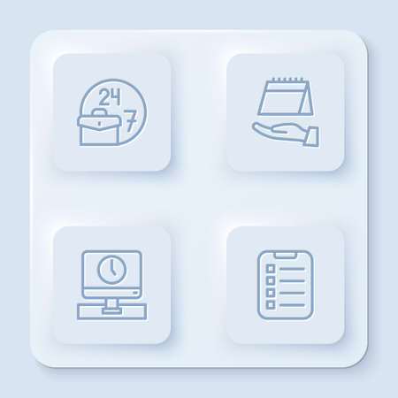 Set line Always busy, Calendar, Monitor time and To do list planning. White square button. Vector