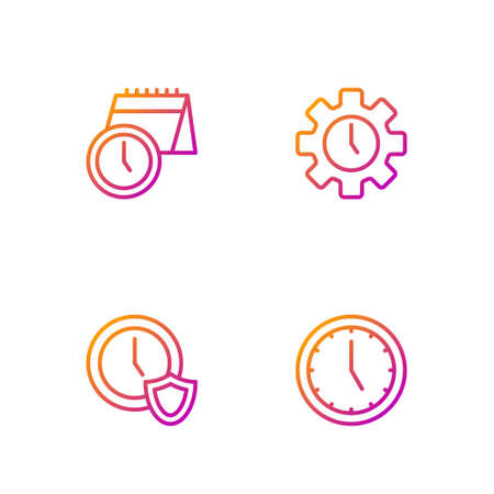Set line Clock, with shield, Calendar and clock and Time Management. Gradient color icons. Vector