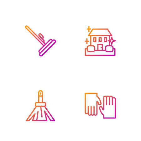 Set line Rubber gloves, Handle broom, Mop and Home cleaning service. Gradient color icons. Vector