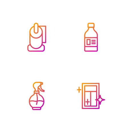 Set line Cleaning service for window, Water spray bottle, Toilet paper roll and Bottle cleaning agent. Gradient color icons. Vector