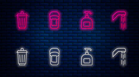 Set line Bucket with rag, Bottle of liquid soap, Trash can and Shower head. Glowing neon icon on brick wall. Vector