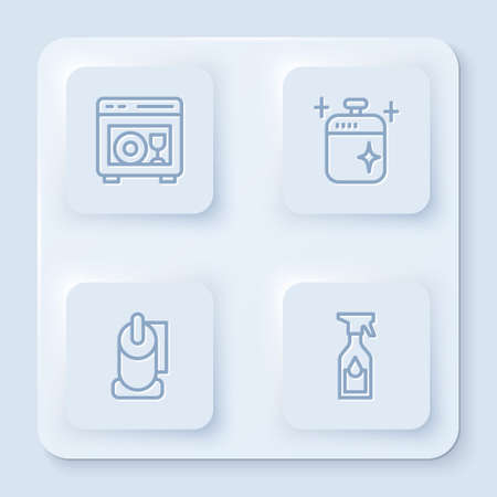 Set line Dishwasher machine, Clean cooking pot, Toilet paper roll and Cleaning spray bottle. White square button. Vector