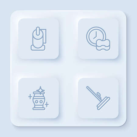 Set line Toilet paper roll, Washing dishes, Clean vase and Mop. White square button. Vector