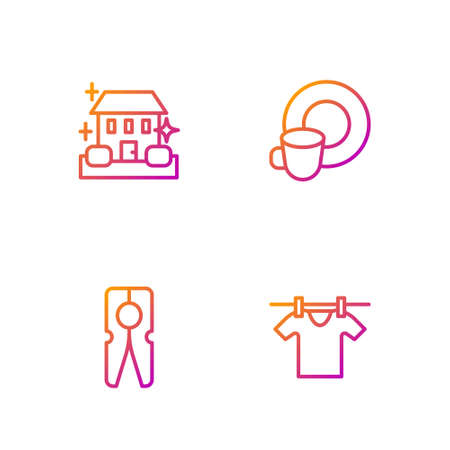Set line Drying clothes, Clothes pin, Home cleaning service and Washing dishes. Gradient color icons. Vector