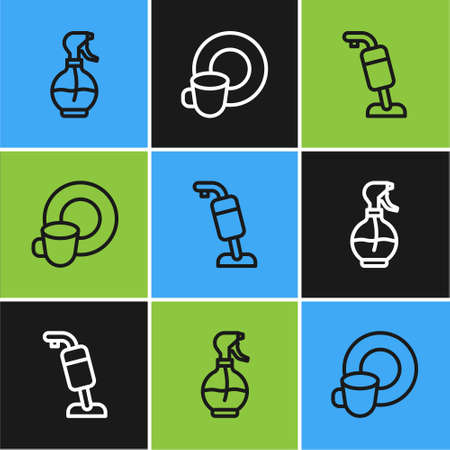 Set line Water spray bottle, Vacuum cleaner and Washing dishes icon. Vector