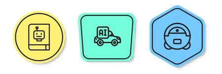 Set line User manual, Autonomous smart car and Robot vacuum cleaner. Colored shapes. Vector Çizim