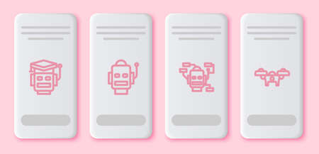 Set line Robot, , and Drone. White rectangle button. Vector