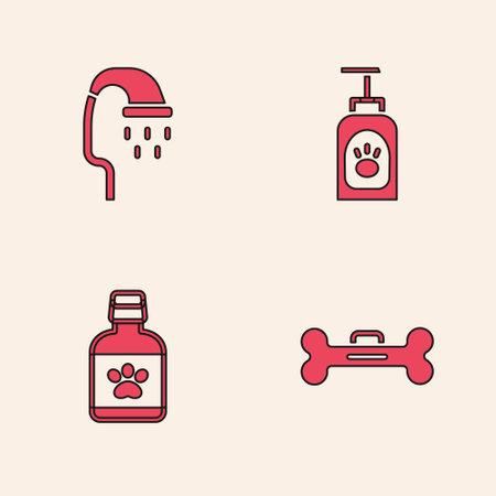 Set Dog bone, Pet shower, shampoo and medicine bottle icon. Vector
