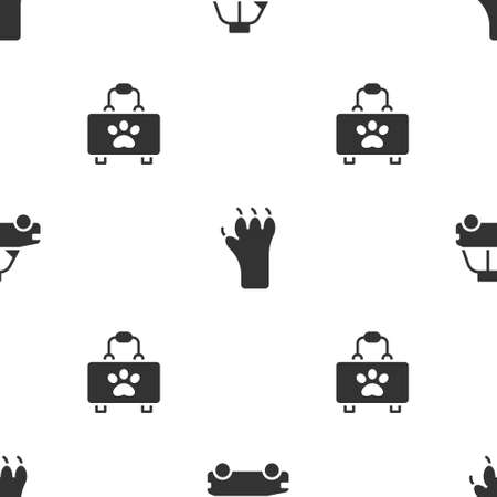 Set Pet car taxi, Paw print and first aid kit on seamless pattern. Vector Ilustrace