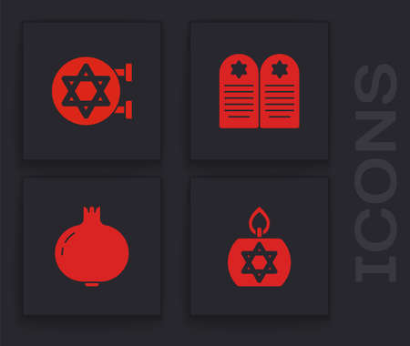 Set Burning candle, Jewish synagogue, Tombstone with star of david and Pomegranate icon. Vector  イラスト・ベクター素材