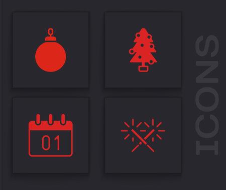 Set Sparkler firework, Christmas ball, tree and Calendar icon. Vector