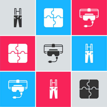 Set Pants with suspenders, Piece of puzzle and Virtual reality glasses icon. Vector