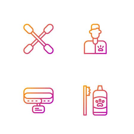 Set line Dental hygiene for pets, Collar with name tag, Cotton swab ears and Veterinarian doctor. Gradient color icons. Vector Ilustrace