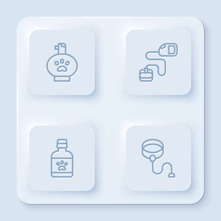 Set line Pet shampoo, Retractable cord leash, Dog medicine bottle and . White square button. Vector