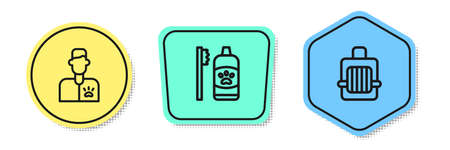 Set line Veterinarian doctor, Dental hygiene for pets and Pet carry case. Colored shapes. Vector