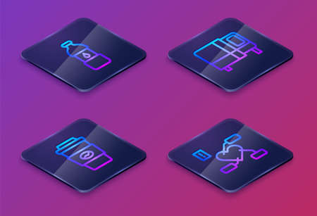 Set Isometric line Bottle of water, Coffee cup to go, Bed and Attention health heart. Blue square button. Vector