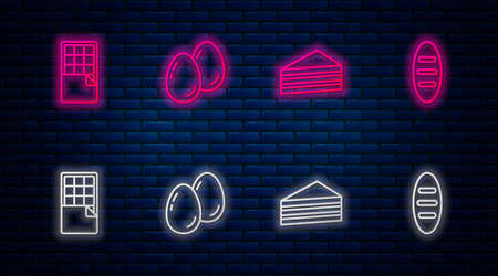 Set line Easter eggs, Cake, Chocolate bar and Bread loaf. Glowing neon icon on brick wall. Vector Ilustracja